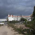 View of hotel from beach walkway