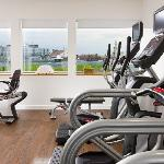 Hotel gym with a Budapest city view
