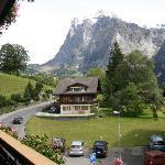 View from our Rm 26 balcony of Chalet Hotel Gletschergarten, Grindelwald, Switzerland