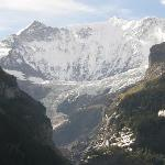 Close-up view of Fiescherhorner & Grindelwald Glacier from our Rm 26 balcony, Chalet Hotel Grind