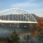 The I-79 bridge over the Ohio River from our 4th floor Fairfield Inn Neville Island room.
