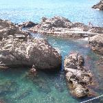 The rock pool below - people swam in it on calm days.