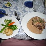 Steak with peppercorn cognac sauce