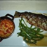 Ivy Inn - Rag Mountain Trout with Greenbeans and Tomato and Crab Spoonbread