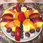 Start your day with a fresh fruit plate and coffee or tea