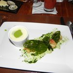 Crisp lobster, fried basi and pea foam appetizer