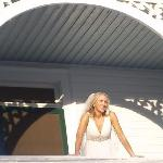 "Photo up to beautiful scrollwork on 2nd floor balcony... this was immediately ""pre-bouquet toss"""