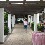 The hallway leaving breakfast