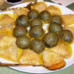 Signature desserts: green-tea, black-sesame ball and Hawaian papaya puff
