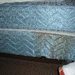 mattress and box springs stained with something..and no dust ruffle