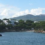View from across the water towards the Hotel Cala d'Or and beach