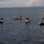 guests using tyres in the lake