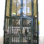 The entrance door to the hostel Pacios