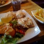 Open-face crab sandwich and chips...another winner