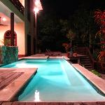 Pool area, nighttime