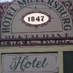 The sign on the front of the hotel