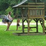 My children playing at the playground