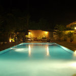 Night scenery of swimming pool.