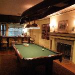 Pool table with canoe chandelier