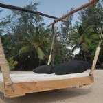 Swing bed on the beach