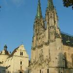 The Olomouc Cathedral faces tiny Vaclavske namesti, and the buildings to its side now house the