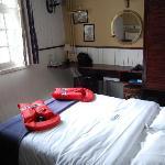 Unser Zimmer auf dem Bargehotel in Brugge (B).