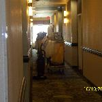 Third floor Sunday morning showing halls blocked with housekeeping carts