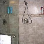 walk-in shower with double shower heads