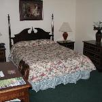 One of the two queen beds in room #105.