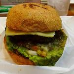 Hahalapeno burger.  Jalapeno salsa under the patty