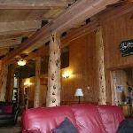 inside the lodge, cosy lounge area