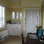 room - desk, coffee pot, closet
