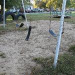 playground with broken equipment