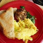 Sausage Tart with eggs and homemade bread
