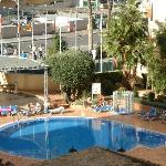 pool inbetween hotels
