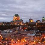 Chateau Frontenac & Old Quebec from our cruise ship at dusk.