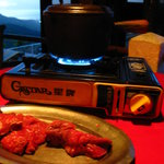 The meat with hot-oil fondue