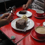 Lamington cake and a chocolate slice