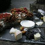 Cheese and fruit at barbeque