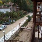 View from the balcony onto the upper end of Melnik's main street