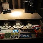 Nespresso maker, various tea bags, complimentary doritos & oreos