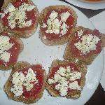 Creatan dakos-with fresh tomatoes and home made olive oil and herbs and feta cheese-AMAZING!