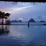 pool area sunset