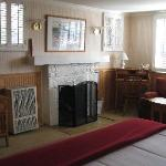 flat screen, nice fireplace & sitting area in room