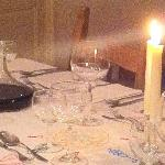 The table set for dinner.