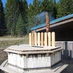 The wood fired hot tub
