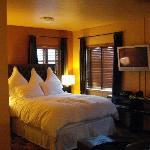 Cool color scheme!  Wonderful bed!