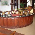 Dining area- preparation for buffet in full swing