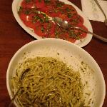 Homemade pesto, and garden tomatoes