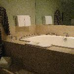 The luxurious 2-person jacuzzi tub